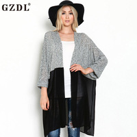 British Style Women Fashion Spring Fall Sheer Chiffon Knitted Patchwork Open Front 3 4 Sleeve Stylish