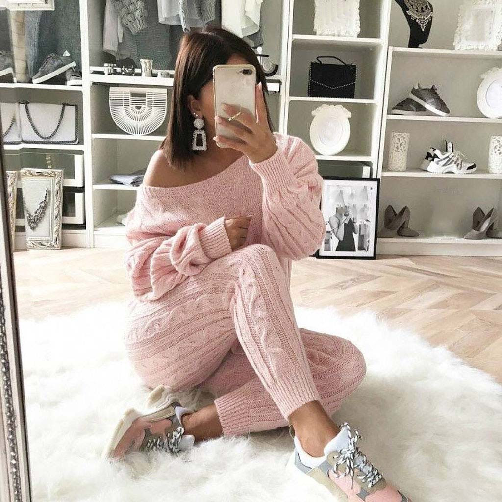 2 Piece Set Women Womens Ladies Solid Off Shoulder Cable Knitted Warm 2PC Loungewear Suit Set Tracksuit Women Womens Suits Sport