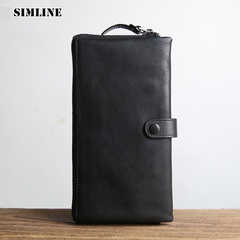 SIMLINE Brand Vintage Genuine Cow Leather Men Men's Long Zipper Hasp Wallet Wallets Purse Card Holder Clutch Bag Bags For Men simline fashion genuine leather real cowhide women lady short slim wallet wallets purse card holder zipper coin pocket ladies