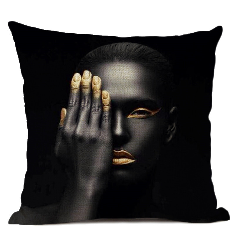 African Woman Portrait Printed Linen Cottton Seat Cushion cover For Sofa Afro Abstract Throw Pillow Case Decorative Pillowcase in Cushion Cover from Home Garden