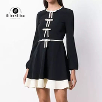 Striped Patchwork Women Dress Black and White Dress Elegant Woman Black and White Dress Formal