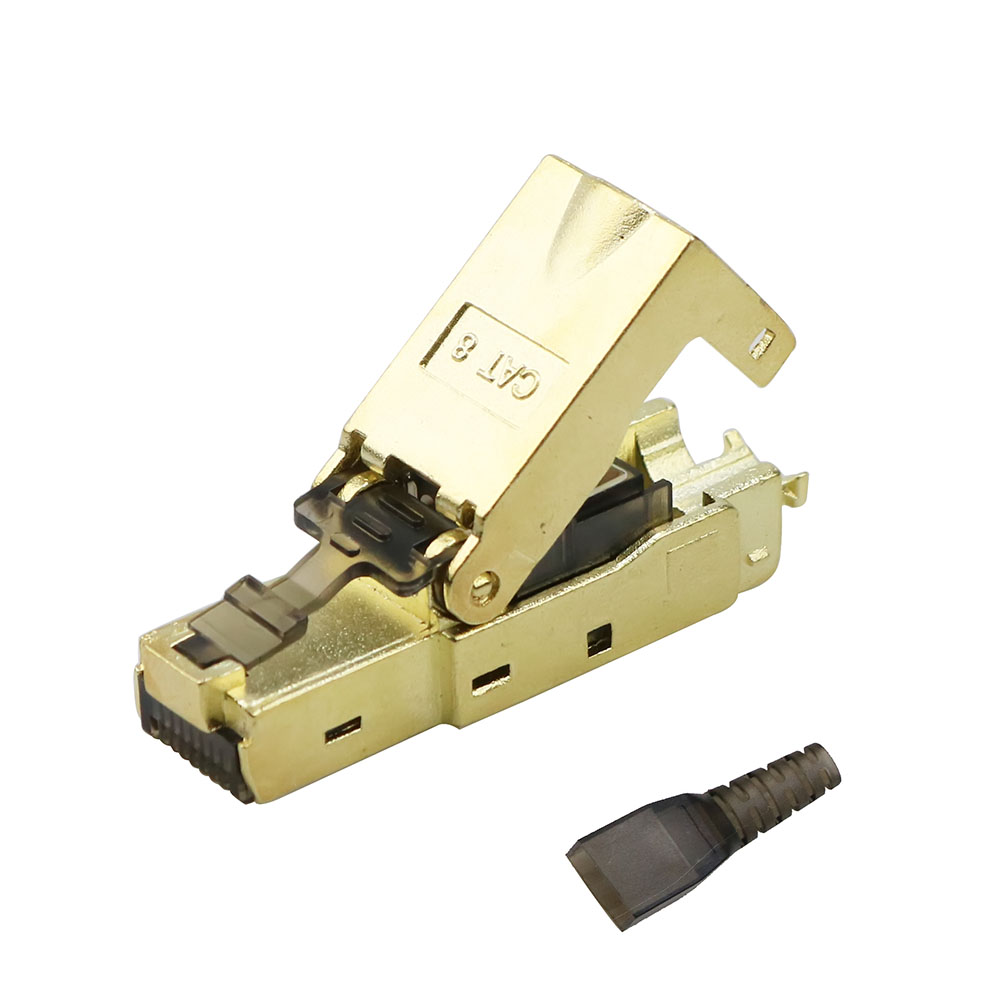 Cat8 Cat.6A Cat7 RJ45 Plug Shielded Die-Cast Metal Easy Field Termination  Ethernet Adapter  Patch Panel Connector