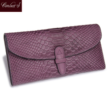 2020 Hot Sale Fashion Snake Print Leather Clutch Wallet Folded Genuine Leather Wallets Womens Cowhide Wallet Long Purse Purple