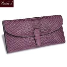 2020 sıcak satış moda yılan baskı deri debriyaj cüzdan katlanmış hakiki deri cüzdan kadın dana cüzdan uzun çanta mor