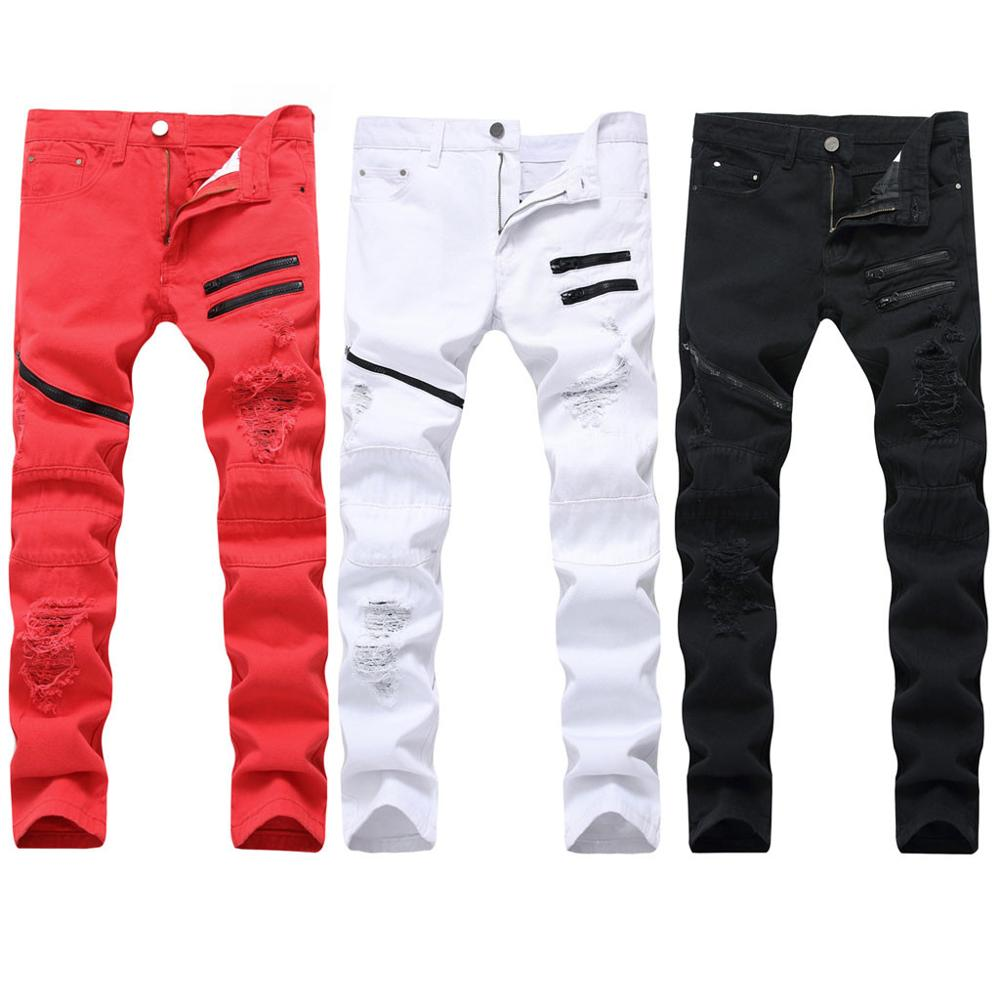 Men's New Fashion Elastic Personality Stretch Ripped Personality Denim Trousers 2019 MenClothes Denim Pants Distressed Freyed