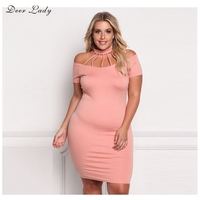 Deer Lady Summer Bodycon Dress 2017 Casual Plus Size Dresses Club Pink Bodycon Halter Dress Off The Shoulder Wholesale