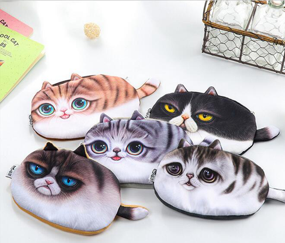 2016 hot sale Animal Prints Coin Purses Dog/cat Zero Wallet Cute Key Pendant Bags pouch Pencil case