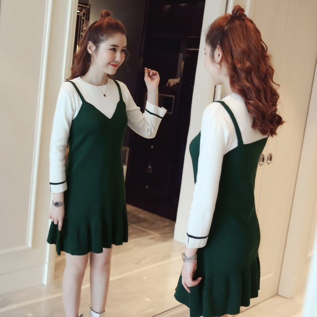 4d673b5c716e3 new Maternity Sweater Dresses Autumn Winter Knitted Black green Long Sleeve  Loose Pregnant Knit Dress Pregnancy Women Clothing