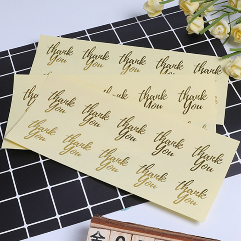 100Pcs Gilding Gold Heart Thank You Handmade Cake Packaging Sealing Label Kraft Sticker Baking DIY Gift Stickers