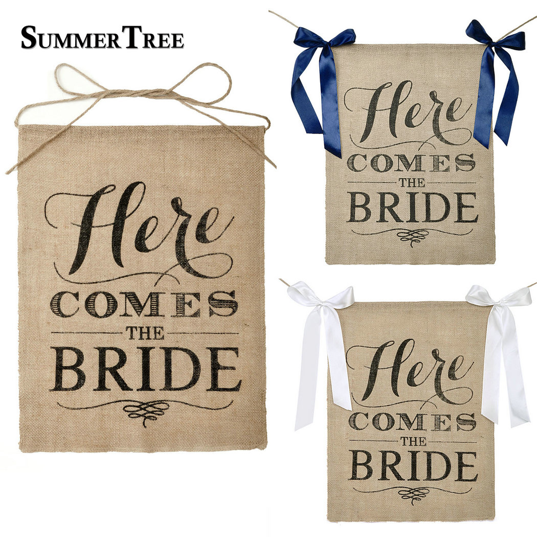 Theme Song Here Comes The Bride Wedding: Here Comes The Bride Sign Burlap Banner With Navy Blue
