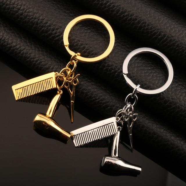 Personality comb scissor hair drier keychain hair dresser creative gift key ring cars bag pendant dressing tools keychains AJ30