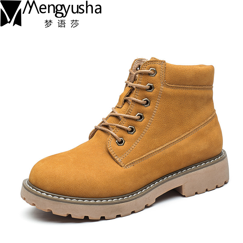New Fashion Women Martin Boots Autumn Winter Genuine Leather Ankle Boots High Quality Retro Outdoor Short Boots Women Shoes de la chance winter women boots high quality female genuine leather boots work