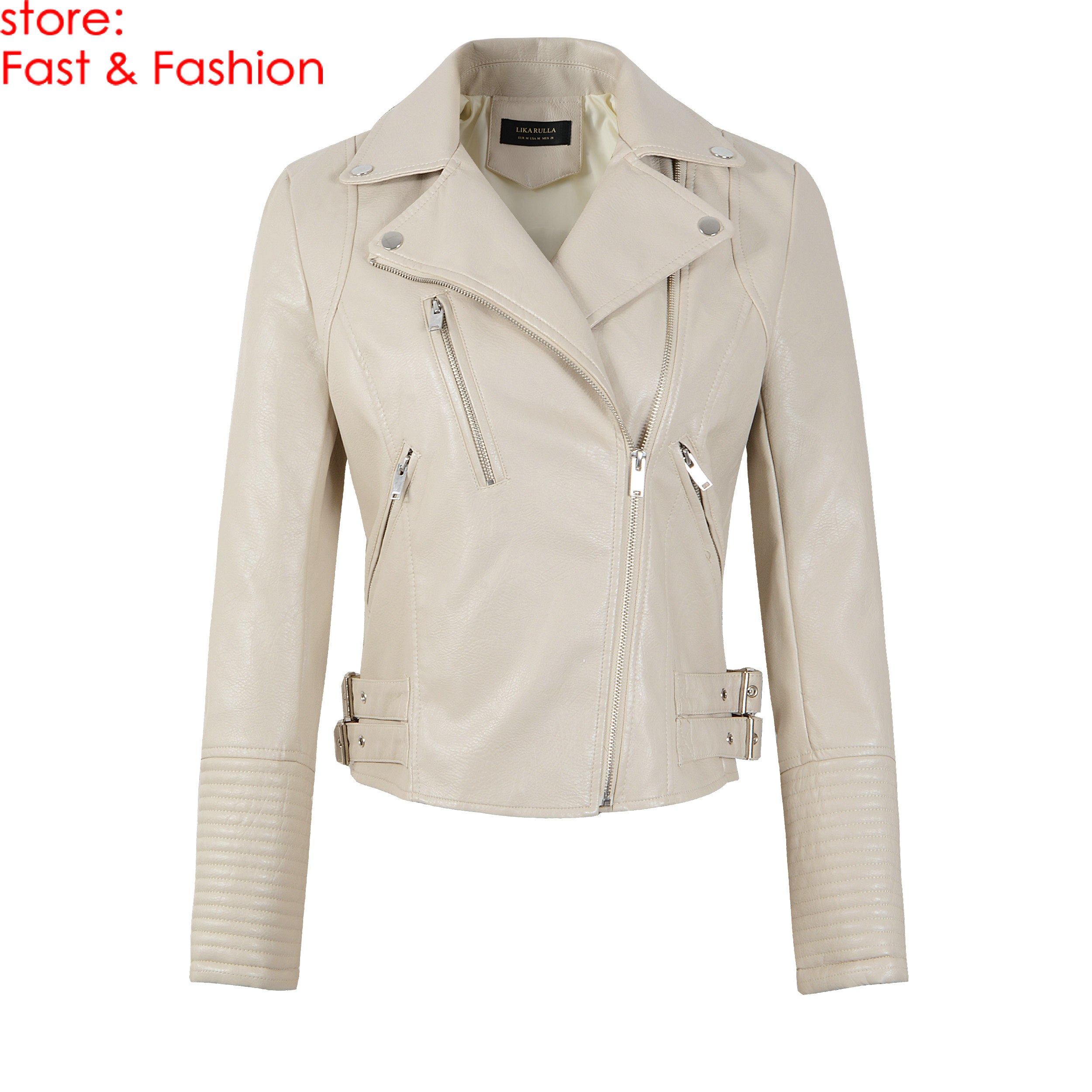 2019 New Fashion Women Casual Faux Soft   Leather   Jackets Ladies Autumn Winter PU Beige Matte Zippers Coats Motorcycle Outerwear