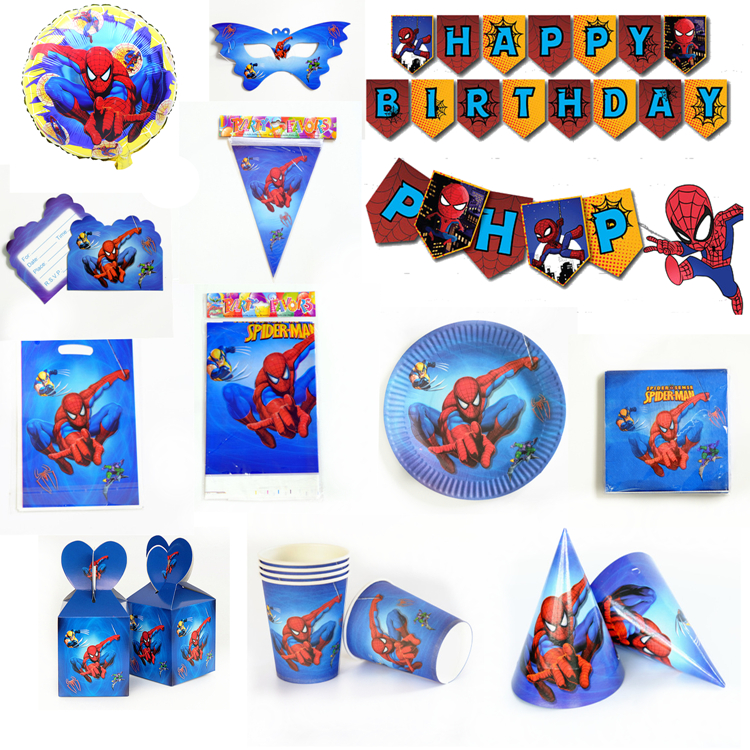 Spiderman Theme Paper Tableware Plate Cup Banner Invitation Tablecloth Topper Balloon Favor For Kid Holiday Party Birthday Gift