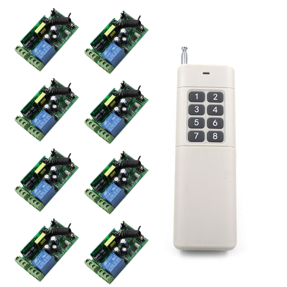 New Item AC85V-250V 1CH 10A Relay Wireless Remote Control Switch 8pcs Receivers And 1pcs 8CH Transmitter for Electric Door/HoistNew Item AC85V-250V 1CH 10A Relay Wireless Remote Control Switch 8pcs Receivers And 1pcs 8CH Transmitter for Electric Door/Hoist