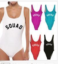 91f2d08137da1 Women s Swimwear Plunge Neck One Pieces SQUAD customize letter print back bodysuits  Women bathing suit beachwear Slim Short Rom