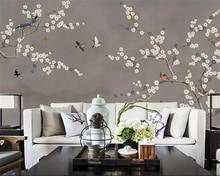Купить с кэшбэком Beibehang Custom wallpaper new Chinese hand-painted pen blue plum flower bird TV bedroom wall papel de parede 3d wallpaper mural