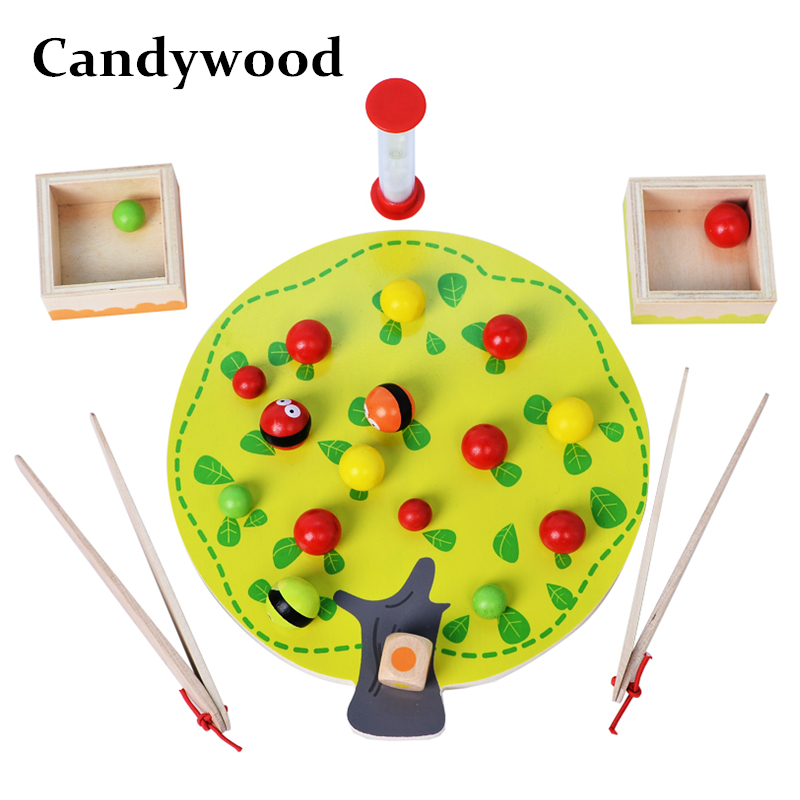 Candywood Kids Wooden toy Montessori Apple Picking Game Colorful Fruit Tree Clip Balls Hand-eye Coordination Educational Toy