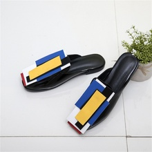 summer autumn fashion women's slippers color matching design comfortable breathable sandals exterior decoration female slippers цена