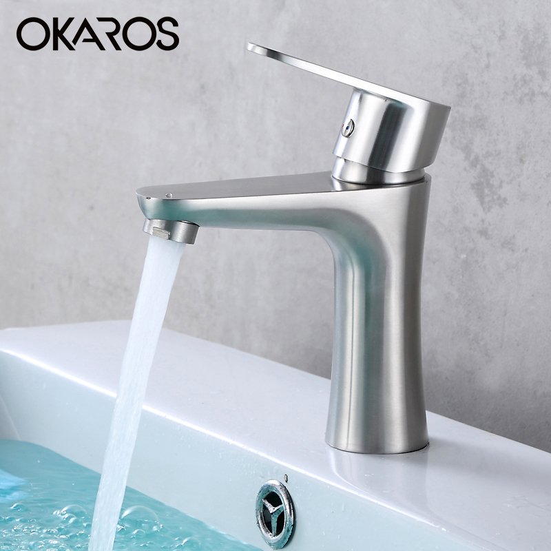 okaros bathroom basin faucet vessel sink faucet sus 304 stainless steel hot and cold water tap
