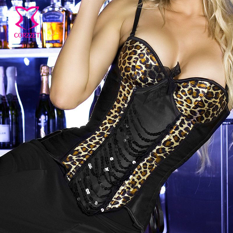Black Satin & Leopard With Sequin   Bustier     Corset   Top Corselet Overbust Push Up   Corsets   Burlesque Catwoman Sexy Gothic Clothing