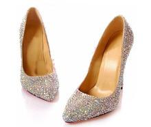 8cm Pointed Toe Thin Heel Popular Bridal Dress Shoes Rhinestone Crystal Diamonds Party Dress Lady Bridal Wedding Shoes