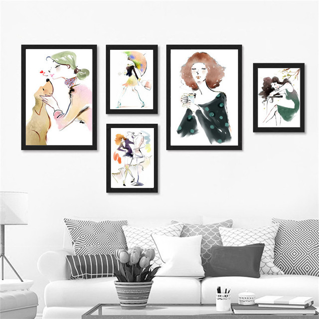 Abstract Watercolor Beautiful Girl Art Canvas Painting Poster Prints Wall Pictures For Living Room Home Decor No Frame