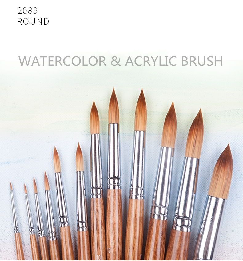 2089R Animal Synthetic Mixed Hair Oak Wooden Handle Paint Brushes Artistic Painting Art Brush For Watercolor And Acrylic Drawing