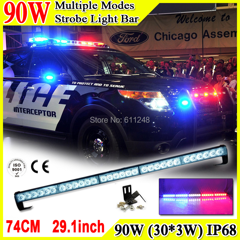 90W Super Bright Led Strobe Flash Warning Light Bar 29.1'' Led Light Bar 4x4 Offroad Flashlight Amber Red Blue Led Police Lights