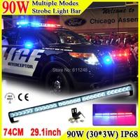 90W Super Bright Led Strobe Flash Warning Light Bar 29.1'' Led Light Bar 4x4 Offroad Flashlight Amber Red Blue Led Police Lights