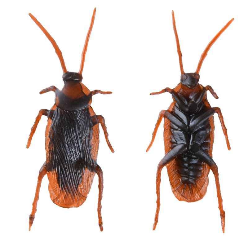 12 Pcs เหมือนจริงแมลงสาบของเล่นฮาโลวีน Gadget Gags Jokes ของเล่น Bugs พลาสติก