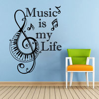 Piano Keyboard Wall Decals Music is my Quote Vinyl Stickers Note Home Decor