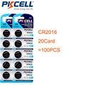 100cs/20 cartão PKCELL CR2016 ECR2016 DL2016 BR2016 CR 2016 Botão 3 V Bateria De Lítio Baterias de Relógio Bateria