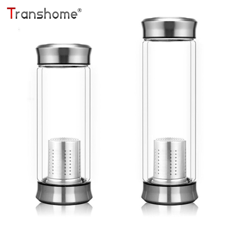 Transhome Water-Bottle Glass Stainless-Steel Double-Wall Infuser 300ml with Tea