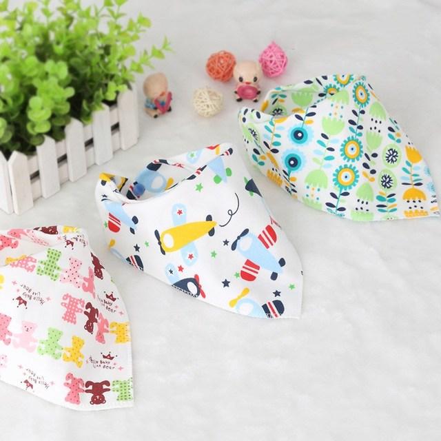 Baby Bibs Triangle Double Layers Cotton Baberos Cartoon Character Animal Print Baby bandana Bibs Dribble Bibs Burp Cloths