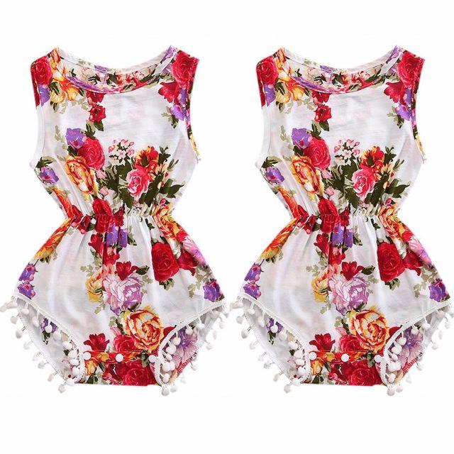 ee3c60b87d6a Newborn Baby Girls Floral Romper Sleeveless Summer Cute Pom Tassel Baby  Kids Clothing Set Romper Jumpsuit Sunsuit Clothes 0-3Y
