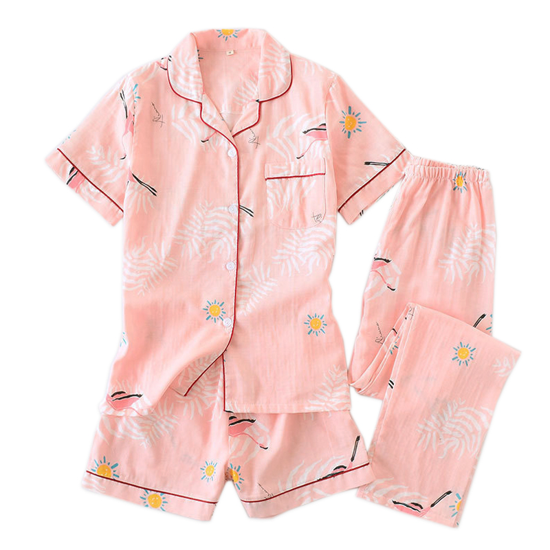3pcs suits Fresh short sleeve pyjamas women Summer 100% gauze cotton sleepwear women Korea pajamas shorts home pants New Sale-in Pajama Sets from Underwear & Sleepwears