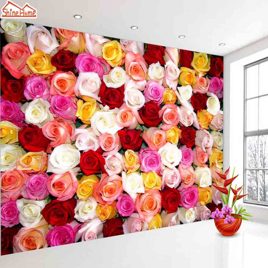 ShineHome-Red Purple Rose Blossom Romantic Floral Wallpaper for 3d Rooms Walls Wallpapers for 3 d  Living Room Wall Paper Murals shinehome skyline sea wave sunset seascape wallpaper rolls for 3d walls wallpapers for 3 d living rooms wall paper murals roll