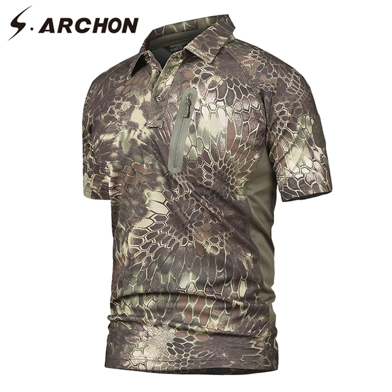 S.ARCHON Men's Military Python Camouflage Polo Shirt Man Casual Breathable Quick Dry Tactical Shirt Short Sleeve Camo Army Polos
