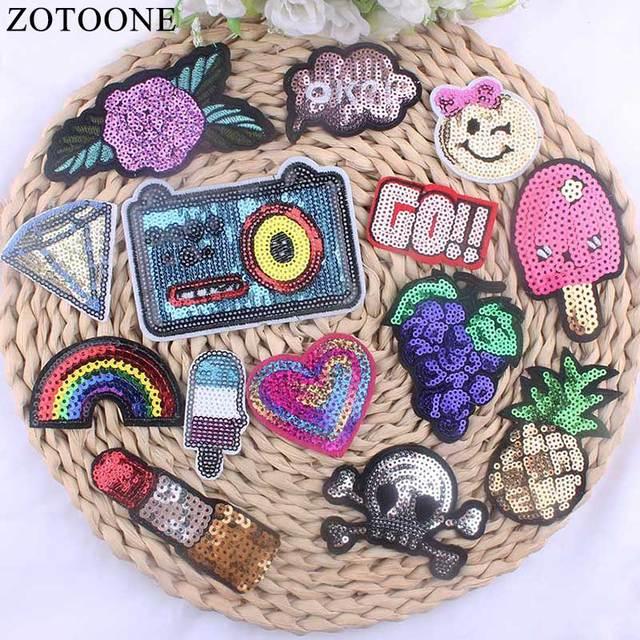 Zotoone 1pcs Cheap Embroidered Applique Flower Reversible Sequin