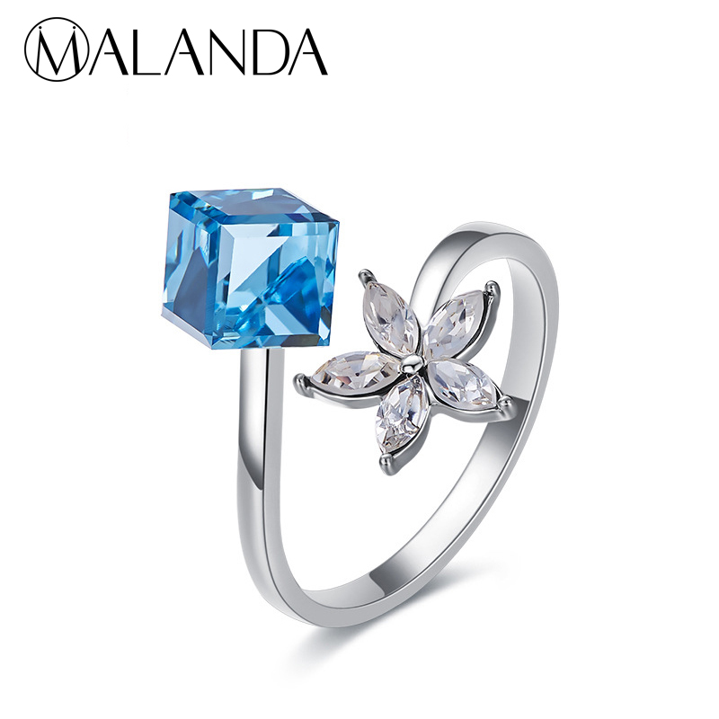 b4772b7cfb6bf US $12.99 |MALANDA New Fashion Open Ring Square Crystal From SWAROVSKI  Rings For Women Elegant Wedding Party Rings Accessories Girls Gift-in Rings  ...