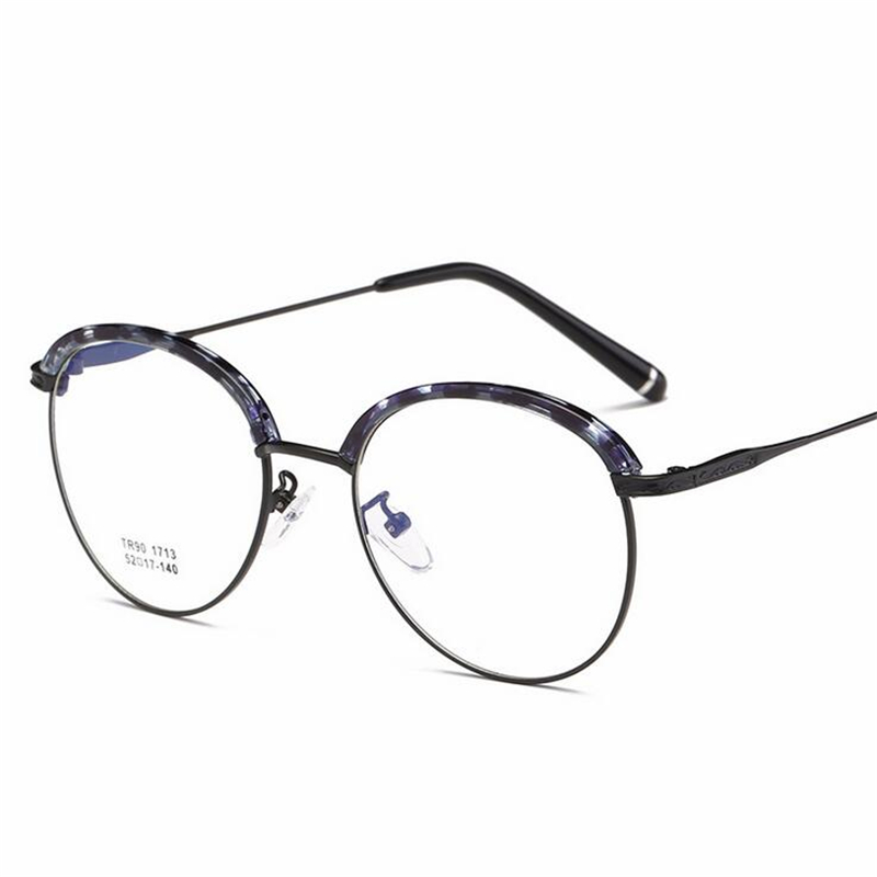 16e448d8267 2018 New Retro TR90 Round Glasses Frame Ladies Personality Full Frame Flat  Mirror Metal Spectacle Frame Women