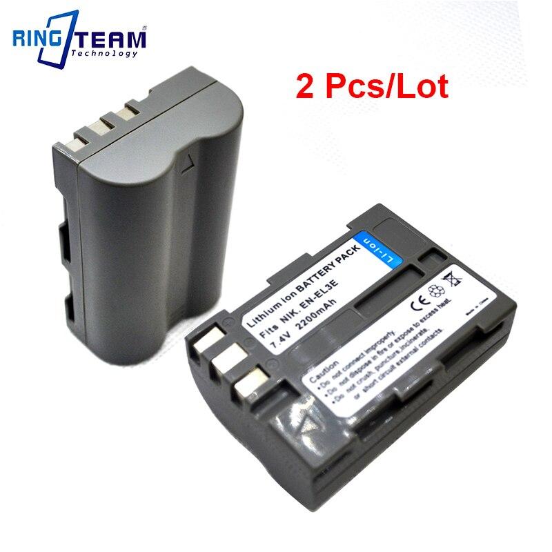 2Pcs/lot ENEL3E EN-EL3E Battery for Nikon D300 D300S D200 D100 D700 D90 D80 D70 D70s D50 D-100 D-300 D-70 D-90 SLR DSLR Cameras ismart replacement en el3e el3 7 4v 1650mah battery for nikon dslr d300 d300s