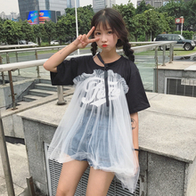 Mihoshop Ulzzang Korean Korea Women Fashion Clothing lovely gauze Preppy Mesh Harajuku Short sleeve T-shirt loose Preppy Sweet