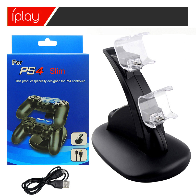 LED Dual USB Charging Charger Dock Stand Cradle Docking Station for Sony Playstation 4 PS4 Game Gaming Console Controller Black (4)