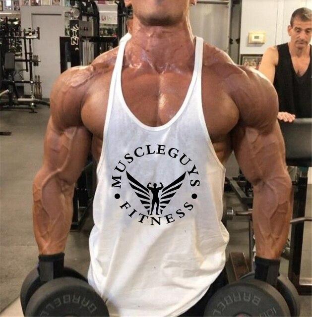 Muscleguys Brand Fitness Clothing Bodybuilding Tank Top Men Gyms Stringer Singlet Cotton Sleeveless shirt Workout Man Undershirt 38