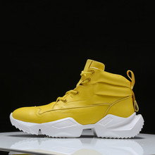 Yellow Candy Color Mens high-top sneakers trend shoes thick soles increased casual  new tide sports Breathable Yasilaiya