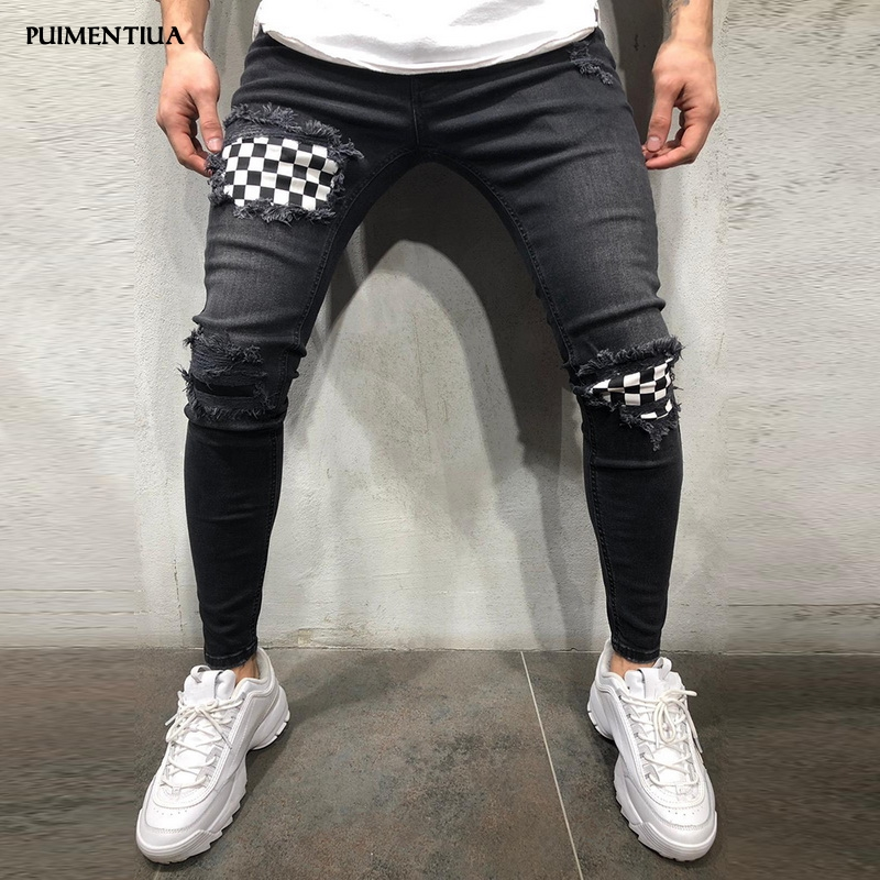 Puimentiua 2019 Mens Ripped Jeans  Ripped Destroyed Stretch Slim  Hip Hop Jeans With Holes For Male Casual Holes Pants