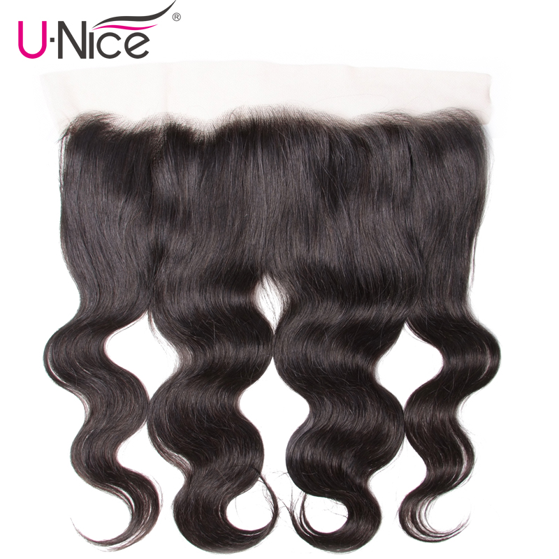 UNice Hair Body Wave Peruvian Lace Frontal Free Part Human Hair Lace Closure Size 13 x4