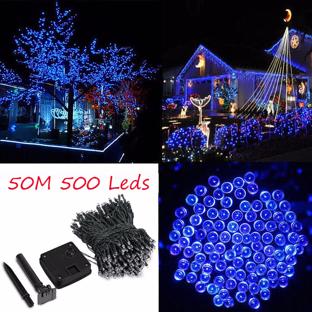 50M 500 LED Solar Powered Fairy Strip Light for Xmas Festival Lights String rechargeable batteries For Decorating Garden solar powered led outdoor string lights 6m 30leds crystal ball globe fairy strip lights for outside garden party holiday